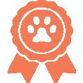 Illustration d'une cocarde avec une patte de chien orange.